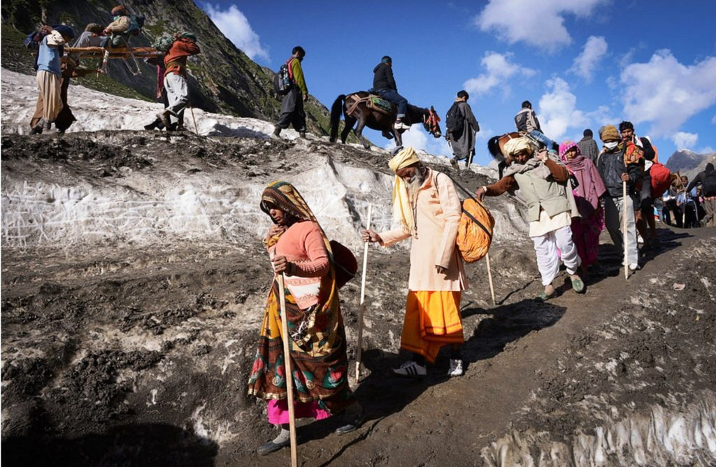 Pilgrims on their way to the Amarnath cave in the Kashmir Himalaya