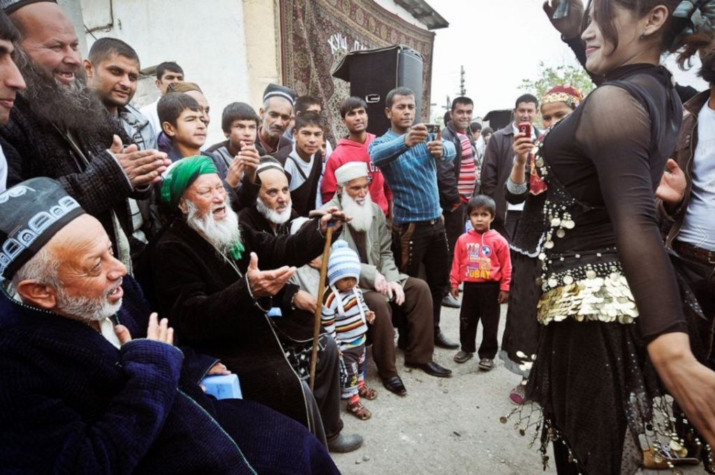 Tajik gypsies, who are Muslims, at a birthday celebration