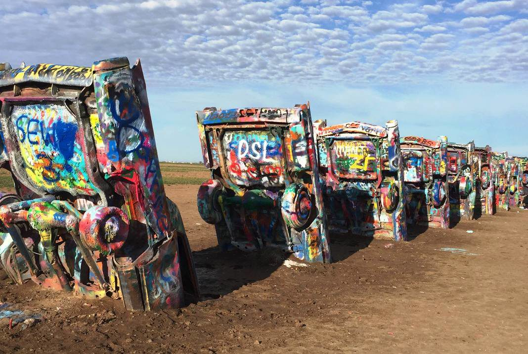 Cadillac Ranch is a public art installation in Amarillo, Texas.