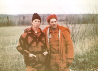 Me and my dad on our 1971 hunting trip in Canada