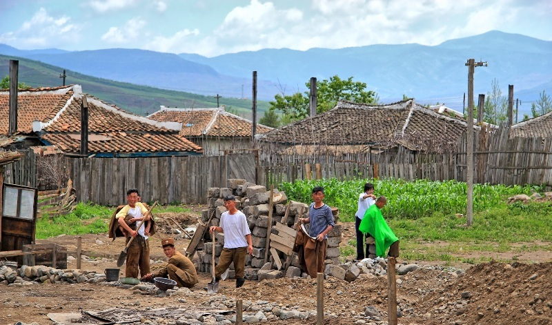 Workers in rural North Korea